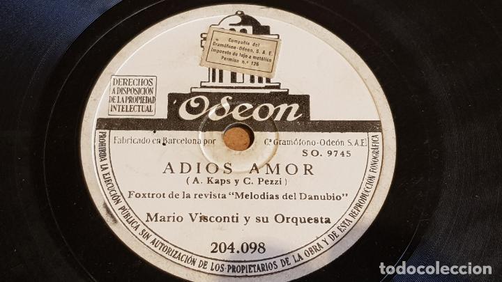 PIZARRA !! MARIO VISCONTI Y SU ORQUESTA / ADIOS AMOR / ODEON - 25 CM. (Música - Discos - Pizarra - Otros estilos)