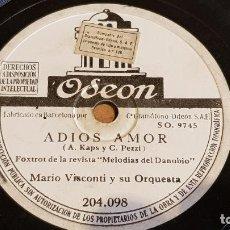 Discos de pizarra: PIZARRA !! MARIO VISCONTI Y SU ORQUESTA / ADIOS AMOR / ODEON - 25 CM.. Lote 163352190