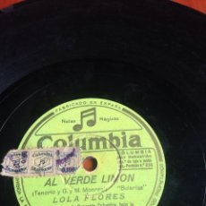 Discos de pizarra: AL VERDE LIMÓN LOLA FLORES. Lote 164741014