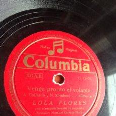 Discos de pizarra: VENGA PRONTO EL VOLAPIE LOLA FLORES. Lote 164741782