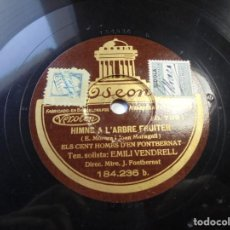 Discos de pizarra: MAGNIFICO ANTIGUO DISCO DE PIZARRA,CATALUNYA PATRIA NOSTRA Y HIMNE A L'ARBRE FRUITER. Lote 166302290
