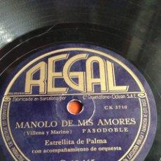 Discos de pizarra: MANOLO DE MIS AMORES ESTRELLITA DE PALMA. Lote 166311912