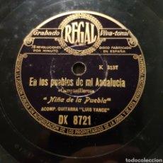 Discos de pizarra: NIÑA DE LA PUEBLA GUITARRA LUIS YANCE - EN LOS PUEBLOS DE ANDALUCIA - EN EL PARQUE SEVILLANO 78 RPM. Lote 166578137
