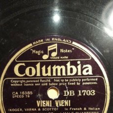 Discos de pizarra: DISCO 78RPM - COLUMBIA - RUDY VALLEE - MALE QUARTETTE - VIENI VIENI - THE WHIFFENPOOF SONG - PIZARRA. Lote 166990680