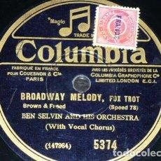 Discos de pizarra: DISCO 78 RPM - COLUMBIA - BEN SELVIN - ORQUESTA - THE BROADWAY NITELITES - FOXTROT - PIZARRA. Lote 167032400