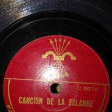 Discos de pizarra: DISCO DE PIZARRA : CANCION DE LA FALANGE ( BANDA Y COROS ). Lote 167035352