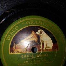 Discos de pizarra: DISCO DE PIZARRA : LA ARGENTINITA : CADIZ + SEVILLA ( ALBENIZ ) . Lote 167037748