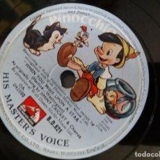 Discos de pizarra: DISCO PIZARRA PINOCHO WALT DISNEY HIS MASTER'S VOICE LA VOZ DE SU AMO BSO DE LA PELICULA. Lote 167476060