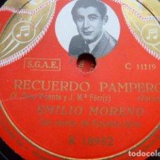 Discos de pizarra: EMILIO MORENO -RECUERDO PAMPERO .ORQUESTA TIPICA .MI LINDO ARRABAL-TANGOS. Lote 167559272