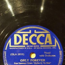 Discos de pizarra: DISCO 78RPM - DECCA - BING CROSBY - ORQUESTA - FILM - RHYTHM OF THE RIVER - MONACO - BURKE - PIZARRA. Lote 167660888