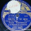 Discos de pizarra: DISCO 78 RPM - DECCA - PAUL WHITEMAN - ORQUESTA - CONCIERTO EN FA MAYOR - GERSHWIN - JAZZ - PIZARRA. Lote 167921660