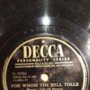 Discos de pizarra: DISCO 78 RPM - DECCA - VICTOR YOUNG - FILM - FOR WHOM THE BELL TOLLS - ROBERTO´S FAREWELL - PIZARRA. Lote 167935140