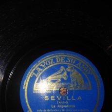 Discos de pizarra: DISCO DE PIZARRA : LA ARGENTINITA : SEVILLA + CADIZ ( ALBENIZ ). Lote 168224496