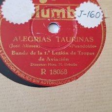 Discos de pizarra: DISCOS 78 RPM BANDA DE LA PRINERA LEGIÓN DE AVIACIÓN.. Lote 168340741
