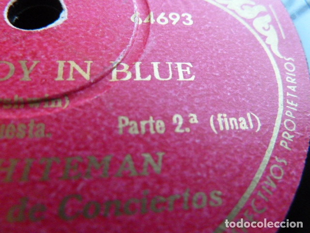 Discos de pizarra: PAUL WHITHEMAN -RHADSODY IN BLUE -PART 1.-2 DISCOS DE PIZARRA 78 RPM - Foto 4 - 168526356