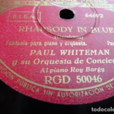 Discos de pizarra: PAUL WHITHEMAN -RHADSODY IN BLUE -PART 1.-2 DISCOS DE PIZARRA 78 RPM. Lote 168526356