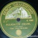 Discos de pizarra: DISCO 78 RPM - GRAMOFONO - FATS WALLER - PIANO - TRIO BENNY GOODMAN - ALLIGATOR CRAWL - PIZARRA. Lote 168607724