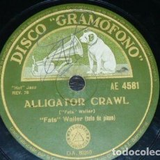 Discos de pizarra: DISCO 78 RPM - GRAMOFONO - FATS WALLER - PIANO - TRIO BENNY GOODMAN - ALLIGATOR CRAWL - PIZARRA. Lote 168607724