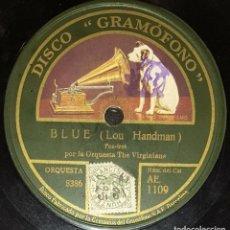 Discos de pizarra: DISCO 78 RPM - GRAMOFONO - ORQ THE VIRGINIANS - ORQ THE GREAT WHITE WAY - BLUE - FOXTROT - PIZARRA. Lote 169337312
