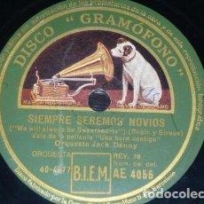Discos de pizarra: DISCO 78 RPM - GRAMOFONO - ORQ AMBROSE - ORQ JACK DENNY - FILM - UNA HORA CONTIGO - JAZZ - PIZARRA. Lote 169452472
