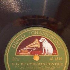Disques en gomme-laque: DISCO 78 RPM - GRAMOFONO - EDDY DUCHIN - FILM - VAMPIRESAS 1936 - VOY DE COMPRAS CONTIGO - PIZARRA. Lote 169631012