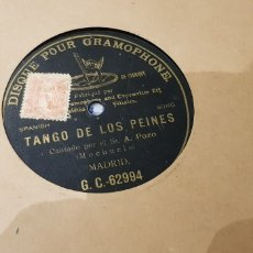 Discos de pizarra: TANGO DE LOS PEINES 78 RPM MOCHUELO. Lote 170491937