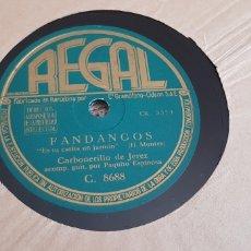 Discos de pizarra: DISCO 78 RPM CARBONERILLO DE JEREZ. Lote 171023008