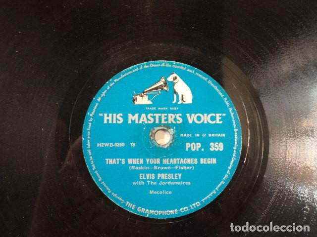 Discos de pizarra: DISCO 78 RPM ELVIS PRESLEY AND THE JORDANAIRES - ALL SHOOK UP/THATS WHEN YOUR… - GREAT BRITAIN - Foto 3 - 171107759