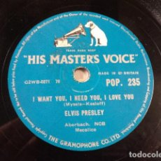 Discos de pizarra: DISCO 78 RPM ELVIS PRESLEY - I WANT YOU, I NEED YOU, I LOVE YOU/MY BABY LEFT ME - GREAT BRITAIN. Lote 171107838