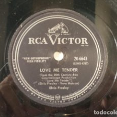 Discos de pizarra: DISCO 78 RPM ELVIS PRESLEY - LOVE ME TENDER/ANYWAY YOU WANT ME - CANADÁ. Lote 171108237