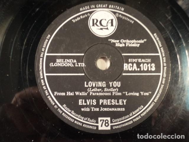 DISCO 78 RPM ELVIS PRESLEY AND THE JORDANAIRES - LOVING YOU/TEDDY BEAR - GREAT BRITAIN (Música - Discos - Pizarra - Jazz, Blues, R&B, Soul y Gospel)