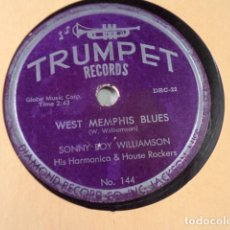 Discos de pizarra: DISCO 78 RPM SONNY BOY WILLIAMSON HIS HARMONICA & HOUSE ROCKERS - WEST MEMPHIS BLUES/I CROSS…. Lote 171109435