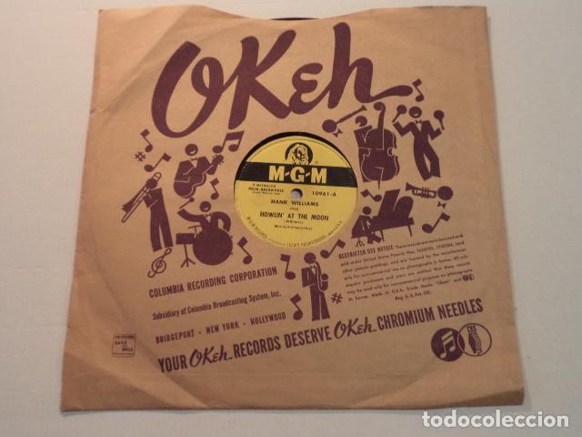 DISCO 78 RPM HANK WILLIAMS - HOWLIN' AT THE MOON/I CAN'T HELP IT - USA (Música - Discos - Pizarra - Jazz, Blues, R&B, Soul y Gospel)