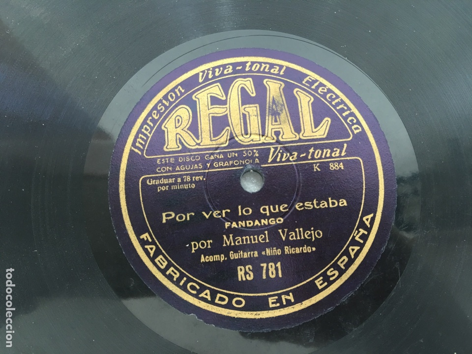 Discos de pizarra: Disco pizarra Manuel Vallejo fandango media granadina Regal - Foto 4 - 171185280