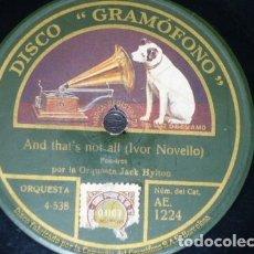 Discos de pizarra: DISCO 78 RPM - GRAMOFONO - ORQUESTA JACK HYLTON - FOXTROT - CHILI BOM BOM - JAZZ - PIZARRA. Lote 172286919