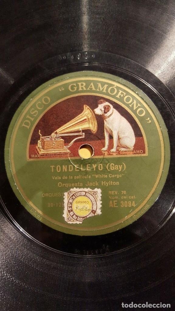 DISCO 78 RPM - GRAMOFONO - ORQUESTA JACK HYLTON - TONDELEYO - GAY - FILM - WHITE CARGO - PIZARRA (Música - Discos - Pizarra - Jazz, Blues, R&B, Soul y Gospel)