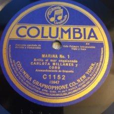 Discos de pizarra: FRAGMENTOS DE LA ÓPERA MARINA 78 RPM (30 CM.) CARLOTA MILLANES. BRILLA EL MAR /PENSAR EN ÉL. Lote 172319608