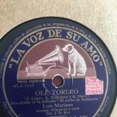 Discos de pizarra: LUIS MARIANO. OLÉ TORERO. PIZARRA. Lote 173022504