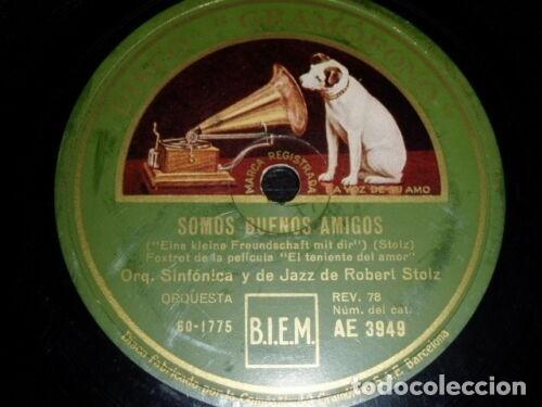 DISCO 78 RPM - GRAMOFONO - ORQUESTA DE JAZZ ROBERT STOLZ - FILM - EL TENIENTE DEL AMOR - PIZARRA (Música - Discos - Pizarra - Jazz, Blues, R&B, Soul y Gospel)