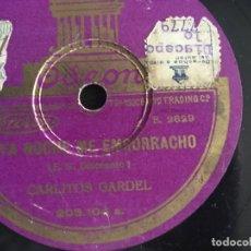 Discos de pizarra: CARLOS GARDEL. TANGO. ESTA NOCHE ME EMBORRACHO / EL CARRERITO. PIZARRA 10 PULGADAS. Lote 173383944