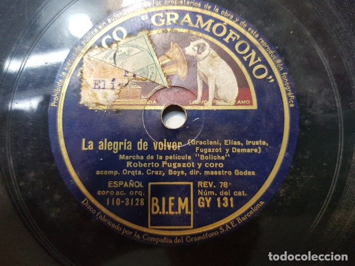 Discos de pizarra: Disco de Pizarra-Rosa Peregrina-Disco Gramofono - Foto 4 - 174174088