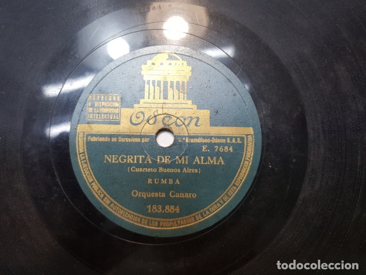 Discos de pizarra: Disco de Pizarra-Negrita de mi Alma-Disco ODEON - Foto 5 - 174175974