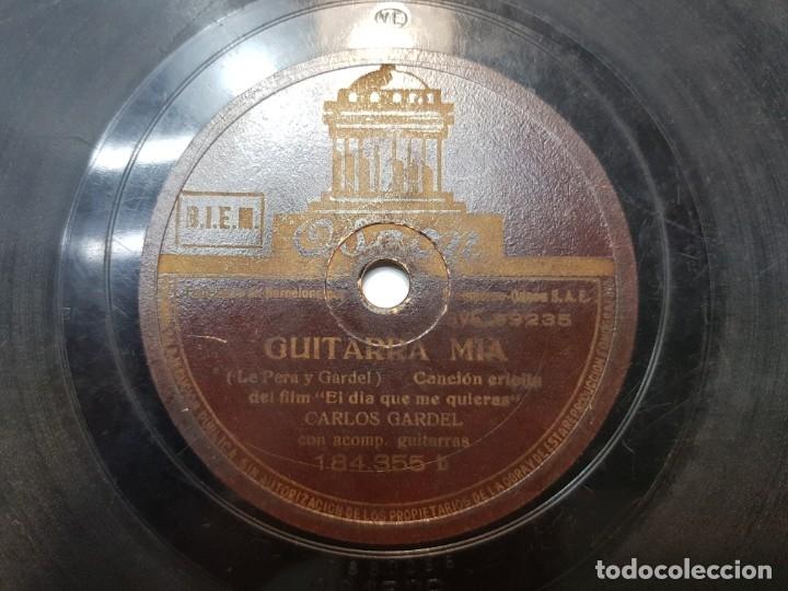 Discos de pizarra: Disco de Pizarra-Guitarra Mia-Disco ODEON (Carlos Gardel) - Foto 2 - 174178633