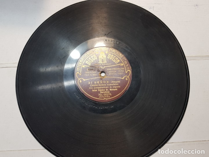 DISCO DE PIZARRA-SI SEÑOR-DISCO ODEON (Música - Discos - Pizarra - Flamenco, Canción española y Cuplé)