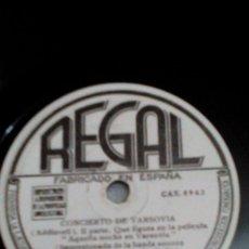 Discos de pizarra: R9/DISCO PARA GRAMÓFONO/REGAL/AQUELLA NOCHE EN VARSOVIA/M.15.050/78 REV/30CM. Lote 175303764