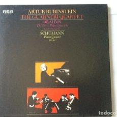 Discos de pizarra: L.P. VINILO. ARTUR RUBINSTEIN, THE GUARNERI QUARTET, BRAHMS, SCHUMANN.CON 3 DISCOS, NUEVOS.. Lote 175731584
