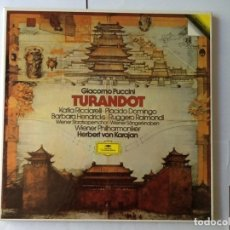 Discos para gramofone: L.P. DE GIACOMO PUCCINI, TURANDOT, CON PLACIDO DOMINGO, HERBERT VON KARAJAN. 3 DISCOS, NUEVO. Lote 175802784