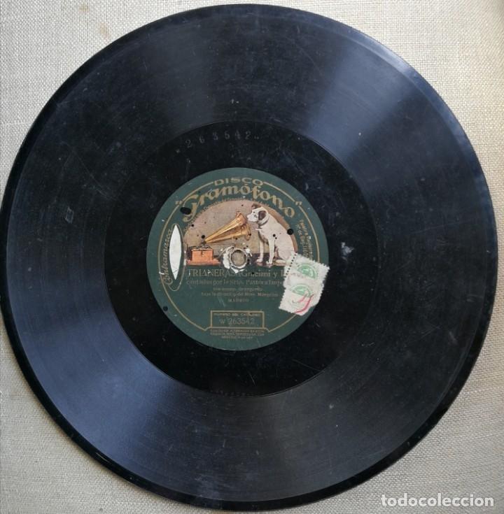 TRIANERAS. PASTORA IMPERIO. DISCO DE PIZARRA. GRAMÓFONO. (Música - Discos - Pizarra - Flamenco, Canción española y Cuplé)