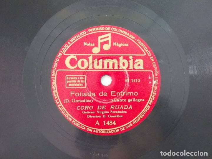 Discos de pizarra: ANTIGUO DISCO DE PIZARRA GALLEGO CORO DE RUADA -PANDEIRADA DE TRASALVA-FOLIADA DE ETRIMO - Foto 3 - 176683482