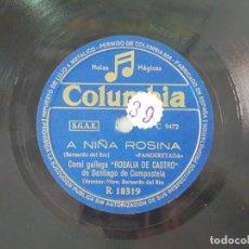 Discos de pizarra: ANTIGUO DISCO DE PIZARRA GALLEGO CORAL ROSALIA DE CASTRO -A NIÑA ROSINA - PARA CALO CORAZON. Lote 176684583